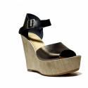 Fornarina Heel Wedge Sandals Woman With Art. PEFBX9515WHMA100 Birky Black/Steel