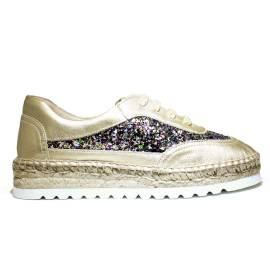 Viguera Sneakers Donna Con Zeppa Bassa 1310215235091 Deportivo Glitter Multi+Baby Platino