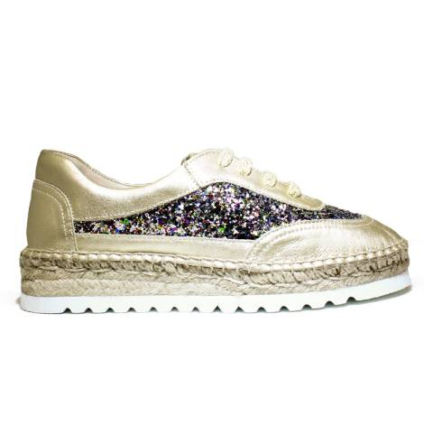 Viguera Sneakers Women With Low Wedge 1310215235091 Deportivo Glitter Multi + Baby Platinum