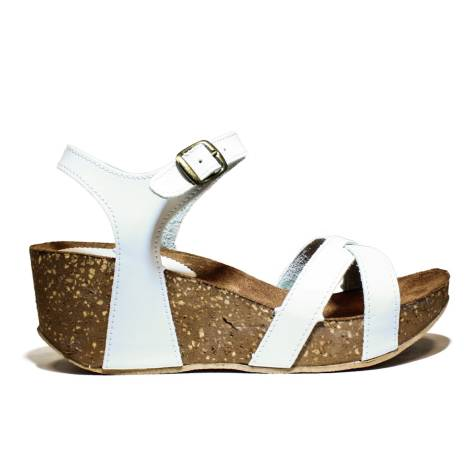 Bio Natural Wedge Medium Women Sandals Art. 101 Bio 60 White