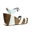 Bio Natural Sandalo Donna Zeppa Alta Art. 101 Bio 80 Bianco