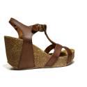 Bio Natural Sandalo Donna Zeppa Alta Art. 104 Cuoio