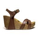 Bio Natural Sandalo Donna Zeppa Alta Art. 101 Bio 80 Cuoio