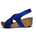 Bio Natural Wedge Medium Women Sandals Art. 110 Blue