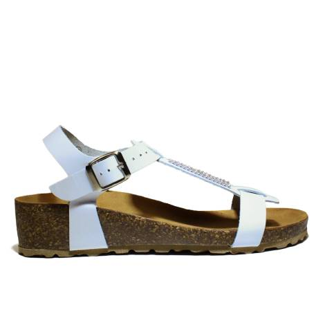 Onyx Women's Sandals Wedge Low Art. T-013 Sandalwood Bio Calf Wedge Low Cork White