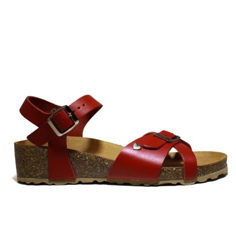 Onyx Women's Sandals Wedge Low Art. T009 Low Wedge Sandal Bio Red Calf