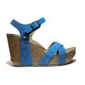 Onyx Sandali Donna Zeppa Alta Art. AG337 Fascia Incr. Crosta Blu