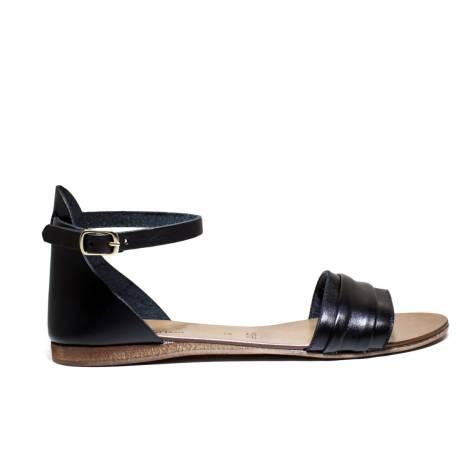 Scarpine Italiane Sandals Low Woman Plissè z.10 Black