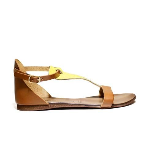Scarpine Italiane Sandals Low Woman Triangle z.10 Leather Pit Yellow