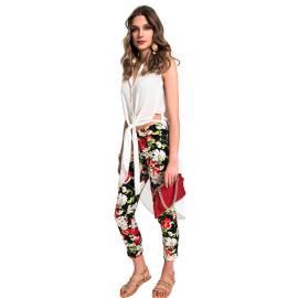 EDAS pantalone Capri Caffè a fiori