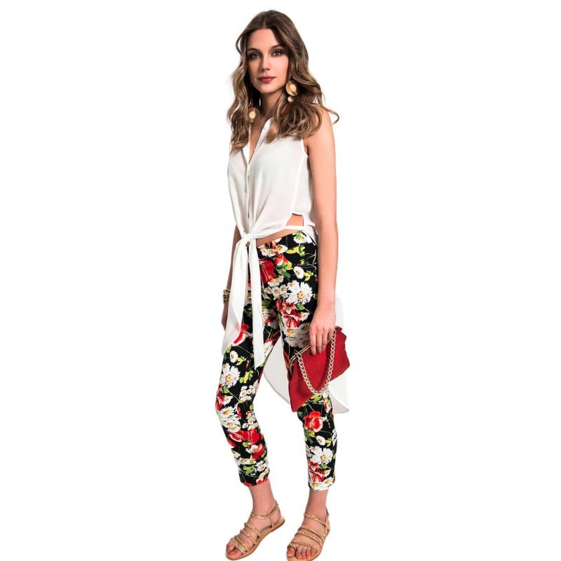 EDAS pantalone Capri Caffè a fiori. Loading zoom 6d8ac442625