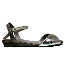 Bueno Shoes Sandals Women's Low Heel KROSS A472 Plata Rock