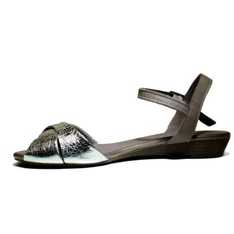 Bueno Shoes Kross A472 Scarpe Donna Sandalo Con Tacco, Tacco Basso, Primavera Estate Nuova Collezione 2016 Pelle Argento
