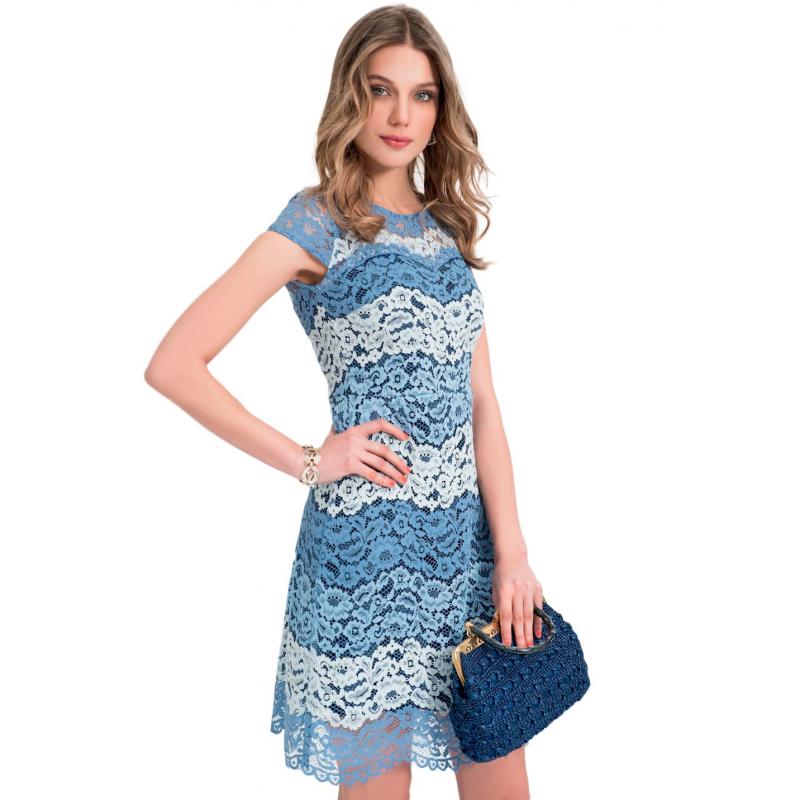 93832c7f28e7 EDAS Tagliavino abito corto blu in pizzo