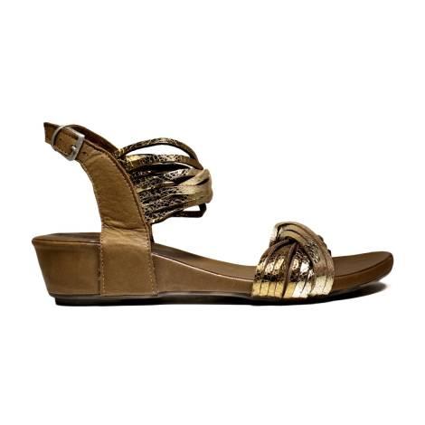 Bueno Shoes Sandals Women's Low Heel SINEM A563 Gold