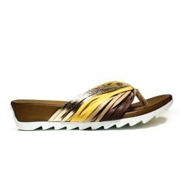Bueno Shoes Sandalo Donna Zeppa Bassa E615 A595 Oro