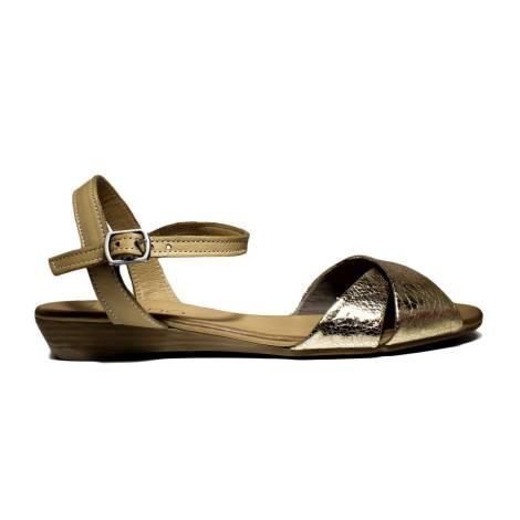 Bueno Shoes Sandalo Donna Tacco Basso KROSS A408 Oro
