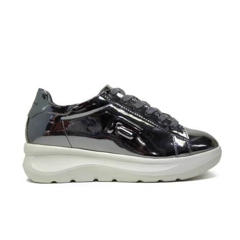 Fornarina sneaker con zeppa color argento venere-silver effetto specchio articolo PIFVH9509WMA9000