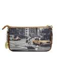 Y NOT? clutch bag ART.G312 WIN woman portraying a New York street, with double shoulder strap and key chain