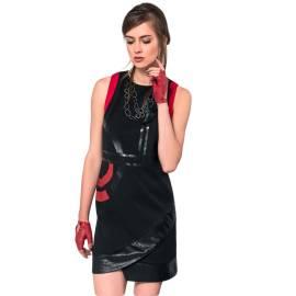 EDAS scozia rosso abito donna con piega in similpelle sull'orlo e stampa geometrica