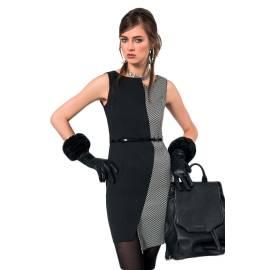 EDAS power abito tubino donna color nero e bianco, con stampa a pixel