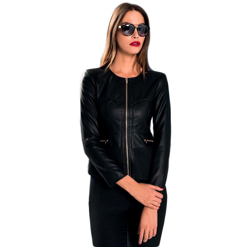 EDAS efesto giacca donna nero lavorata in similpelle 5846ae702c3
