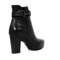 Albano ankle boots 9395 roc70 vitello black leather with double buckle fastening and zip