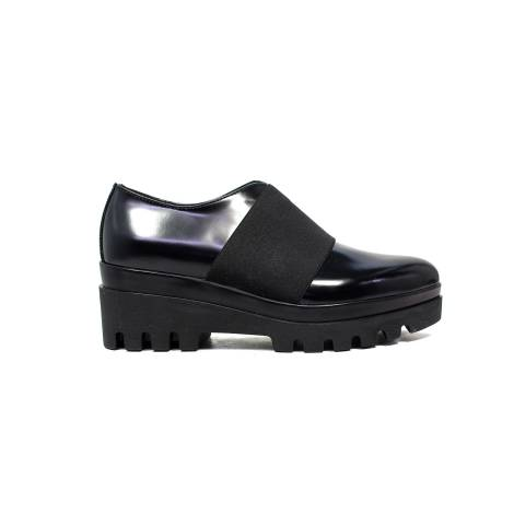 Janet Sport brogues woman with low wedge shoes 38787 black tie / black f 256