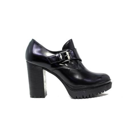 Janet Sport socket woman with low wedge 38780 Polish lego black / black f 256