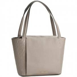 Calvin Klein borsa donna K60K602228 094 modello tipo shopper in ecopelle color fungi con logo CK inciso su inserzioni laterali