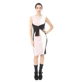 Sandro Ferrone abito donna C18 CUSIO AI17 in poliestere ed elastano color rosa e nero, con fusciacca