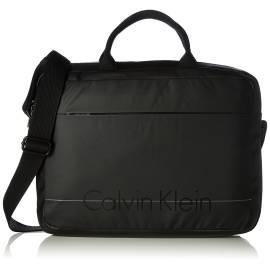 Calvin Klein borsa laptop K50K502068 001 nero in ecopelle e tessuto liscio, con stampa logo frontale e retro imbottito anti urto