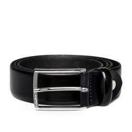 Calvin Klein cintura uomo K50K500523 001 nero lucido e fibbia metallica rettangolare
