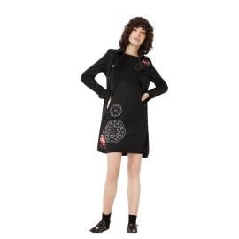 Desigual vestito corto donna 67V20G8 2000 cora color nero con forme geometriche color bianco
