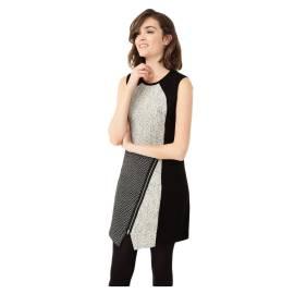 Desigual vestito corto donna 67V28A8 2000 oceano color nero e bianco, texture in contrasto e zip obliqua