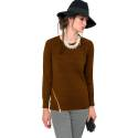 EDAS taurina maglia donna color marrone, in viscosa, nylon e modal con zip obliqua