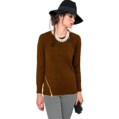 EDAS taurina sweaters woman color brown viscose, nylon and modale with oblique zip
