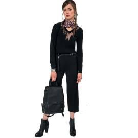 EDAS priola maglia donna con collo a v in pizzo color nero