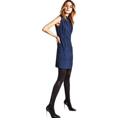 Philippe Matignon collant donna M115231PM color nero in poliammide ed elastano, con decorazione lucida sulla gamba