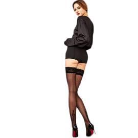 Philippe Matignon autoreggente donna M115254PM color nero in poliammide ed elastano, con fascia in pizzo