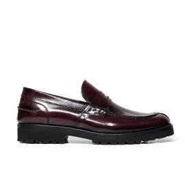 B. Young man loafer SUPER4 ABRASIVATO BURGUNDRY Italian brand