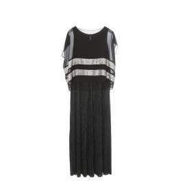 Sweet Lola abito lungo con plisse SC59 9543 AI17 color nero, in poliestere ed elastano
