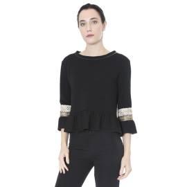 Sandro Ferrone maglia blusa donna C12 MADAME AI17 ottoman passamaneria, color nero e oro