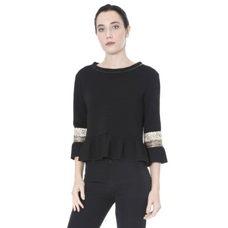Sandro Ferrone woman knitted blouse C12 MADAME AI17 ottoman trimmings, black and gold