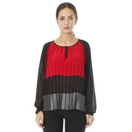 Sandro Ferrone maglia blusa donna C20 FM1198 AI17 plisse a tre colori, grigio, nero e rosso