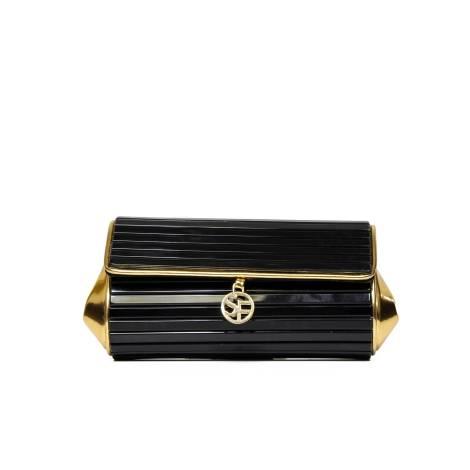 Sandro Ferrone borsa clutch A2 OBELIX AI17 in plexiglass color nero e oro