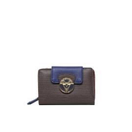 Valentino Handbags portafoglio donna VPS1EY146 OPERA in ecopelle color marrone, blu e bordeaux