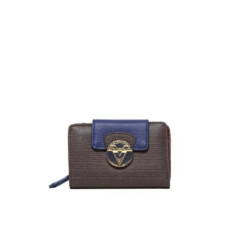 Mario Valentino wallet VPS1EY146 OPERA woman in brown leather, blue and burgundy
