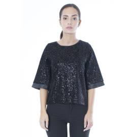 Sandro Ferrone maglia casacca donna M12 17159 AI17 paillettes e velluto nero