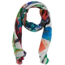 Desigual foulard donna 41W5725 1000 multicolore, con firma centrale e fantasia floreale